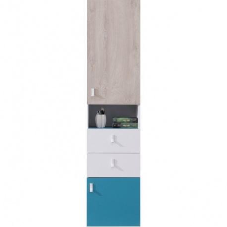 Úzká vysoká skříň PHILOSOPHY - bílá / modrá L/P