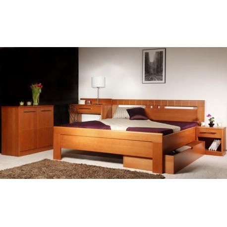 Masivní postel s úložným prostorem Arleta 1 160/180 x 200cm - výběr moření