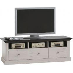 Televizní stolek Moris - bílá/tmavě hnědá