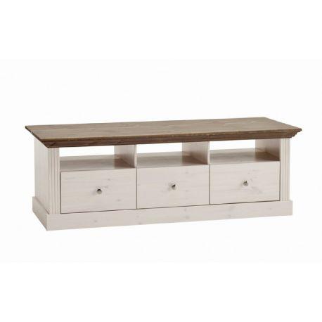 Televizní stolek Moris - bílá/hnědá