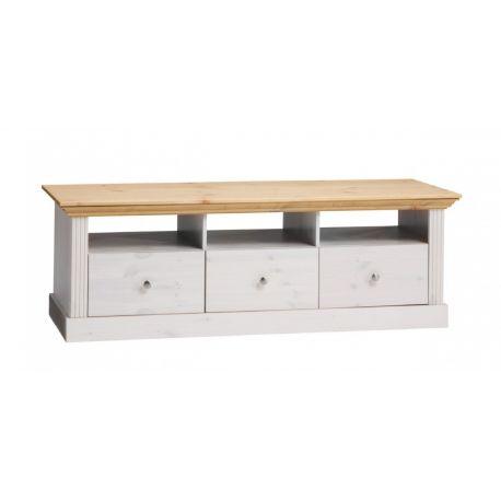 Televizní stolek Moris - bílá/světle hnědá