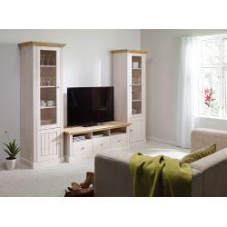 Obývací stěna Moris I - bílá/ světle hnědá