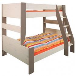 Rozšířená postel Dash 90+120x200 cm - bílá+hnědá