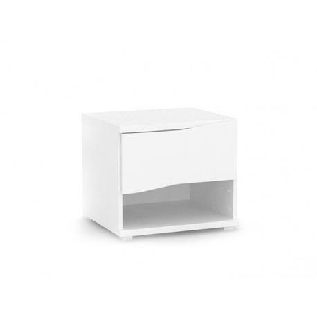 Noční stolek REA Wave 1 jednozásuvkový - bílá