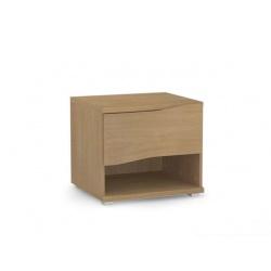 Noční stolek REA Wave 1 jednozásuvkový - buk