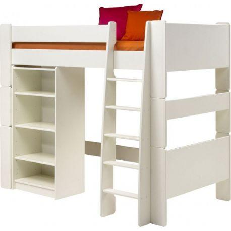 Vyvýšená postel s regálem Dash - bílá