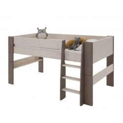 Vyvýšená postel Dash 90x200 cm - bílá/hnědá