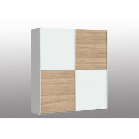 Šatní skříň Winner - Bílý Uni/Bílý Uni-Dub Sonoma
