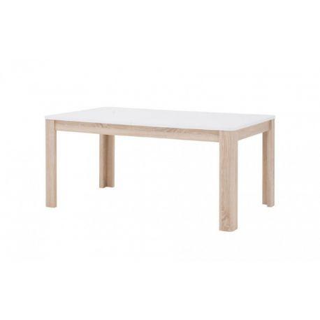 Jídelní stůl s rozkládáním Borata - bílý/dub sonoma/bílý lesk