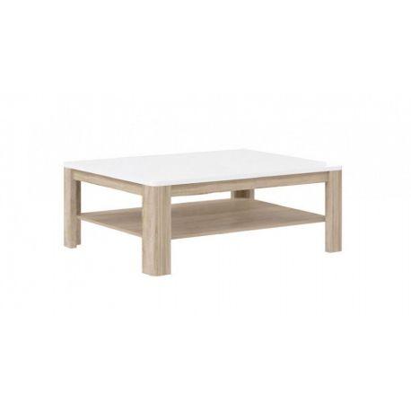 Konferenční stolek Borata - bílá/dub sonoma/bílý lesk