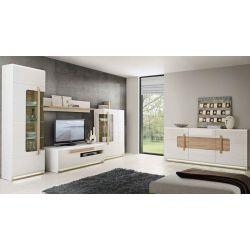 Obývací stěna s osvětlením Borata - bílá/dub sonoma/bílý lesk