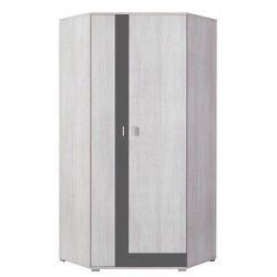 Rohová šatní skříň Delbert 2 - fialová nebo šedá