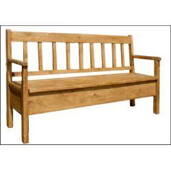 Jídelní lavice z masivu s úložným prostorem a područkami Sil 014 - 150cm - výběr moření