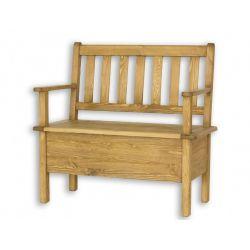 Jídelní lavice z masivu s úložným prostorem a područkami Sil 014 - 120cm - výběr moření