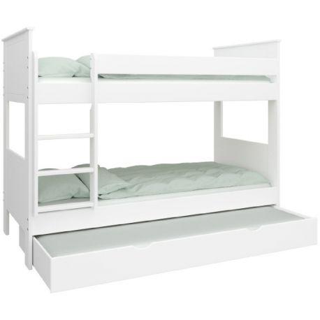 Patrová postel Sendy 90x200cm se zásuvkou - bílá