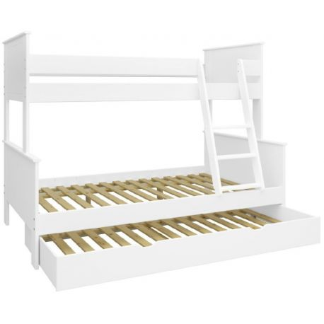 Patrová postel Sendy se zásuvkou - bílá