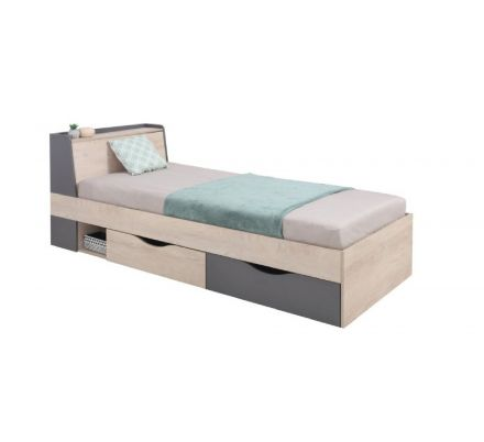 Dětská postel Europe 90x200cm - dub/antracit