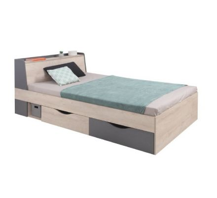Studentská postel Europe 120x200cm - dub/antracit