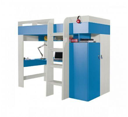 Vyvýšená postel s pc stolem a skříní Adéla - modrá
