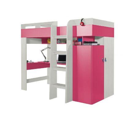 Vyvýšená postel s pc stolem a skříní Adéla - růžová