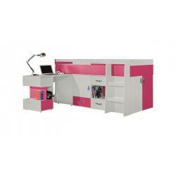 Vyvýšená postel s psacím stolem Adéla - růžová