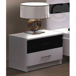 Noční stolek DEREK, bílá / černé sklo s leskem