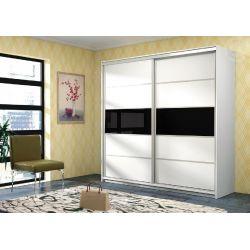 Skříň s posuvnými dveřmi DEREK, bílá / černé sklo s leskem