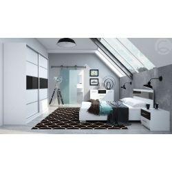 Ložnice DEREK, bílá / černé sklo s leskem