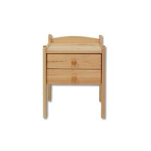 Noční stolek s dvěma šuplíky, Moření Bez moření Borovice