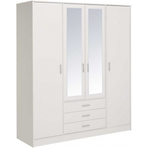 Šatní skříň General 4D3S se zrcadlem - bílá