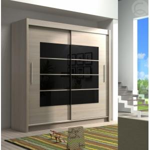 Šatní skříň s posuvnými dveřmi Tuna 11 - černé zrcadlo Komfort