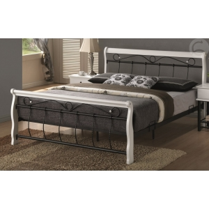 Manželská postel VANESA - 160x200 bílá/černá Komfort