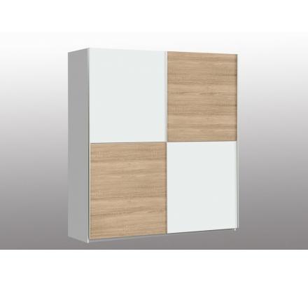 Šatní skříň Press - Bílý Uni/Bílý Uni-Dub Sonoma