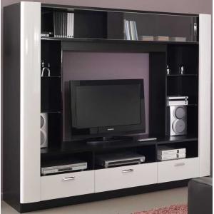 Televizní stěna Ciron- černá/bílá lesk