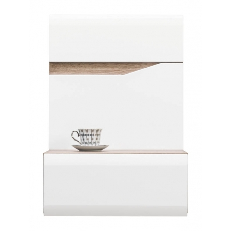 Závěsný noční stolek levý LAOS - dub sonoma truflový/bílý lesk