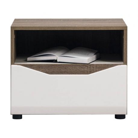Noční stolek LAOS - dub sonoma truflový/bílý lesk
